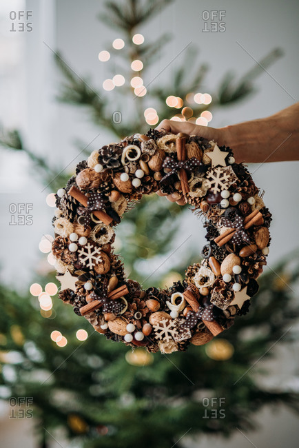 Christmas wreath decoration made from natural materials