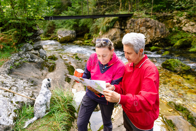 From above of middle aged female hikers watching paper map on mountain behind Casano river and dog in Spain