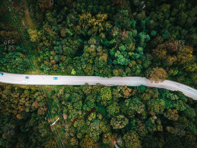 Spectacular drone view of roadway with driving cars leading through amazing green woods