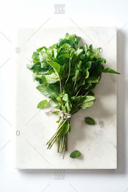 A bunch of fresh mint on marble cutting board