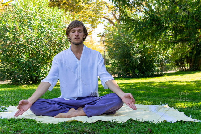 Tranquil male in Lotus pose with mudra hands and closed eyes doing yoga and practicing mindfulness while sitting on blanket in summer park