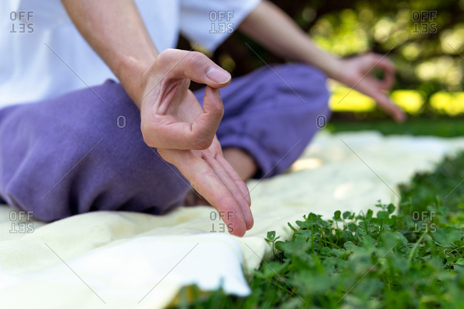 Cropped unrecognizable tranquil male blogger doing yoga in Lotus pose and doing mudra gesture in park during summer day