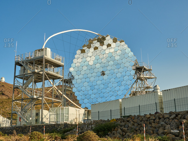 October 13, 2020: Various modern telescopes including MAGIC or Major Atmospheric Gamma Imaging Cherenkov Telescope located on hill slope at astronomical observatory on island of La Palma in Spain