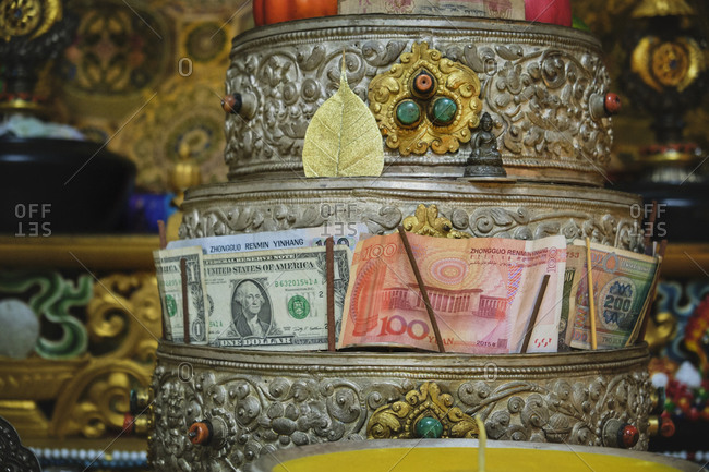 September 5, 2020: Traditional religious figure of Buddha placed in oriental temple for religious prayers and rituals