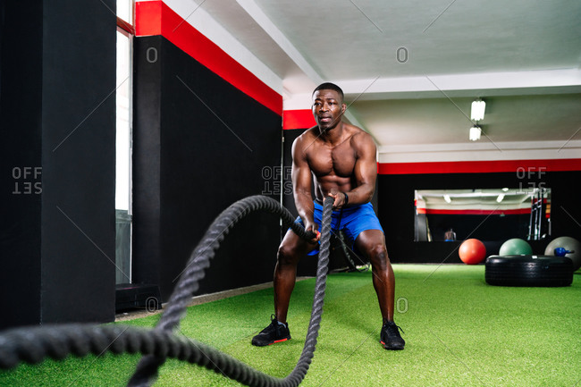 Back view of ethnic sportsman with strong torso exercising with battle ropes during functional training in gym