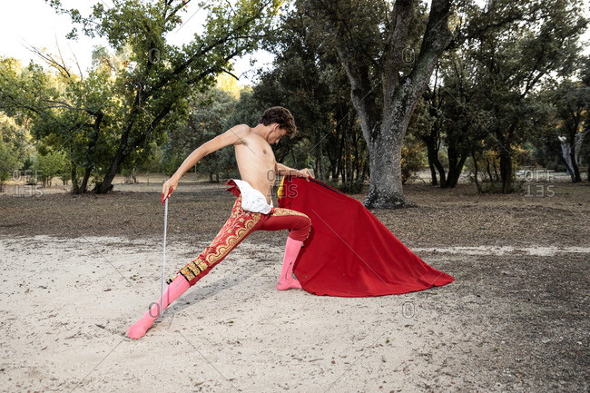 Focused slim male shirtless bullfighter in red pants holding cloak performing gracefully before corrida in nature