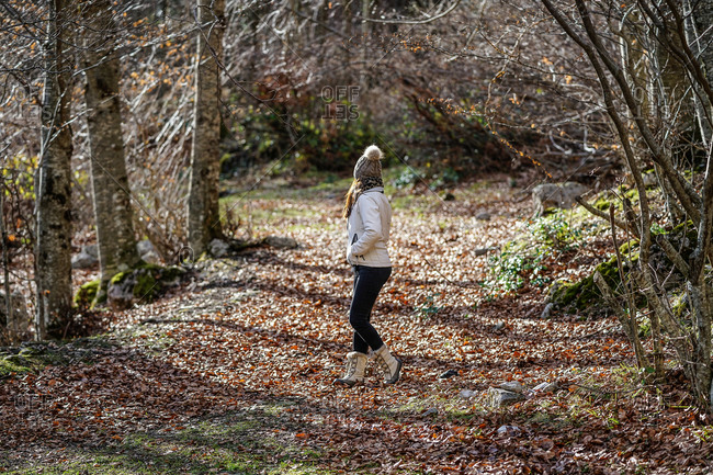 Side view of anonymous female in outerwear walking along picturesque alley with fallen leaves in woods on sunny day and enjoying nature