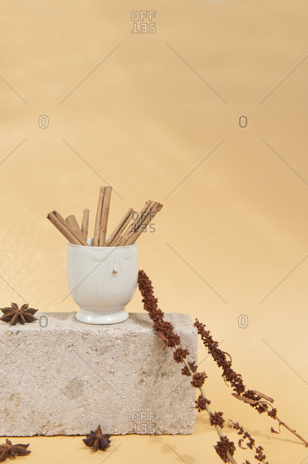 Aromatic cinnamon pods in ceramic vase near dried anise on cement brick on beige background