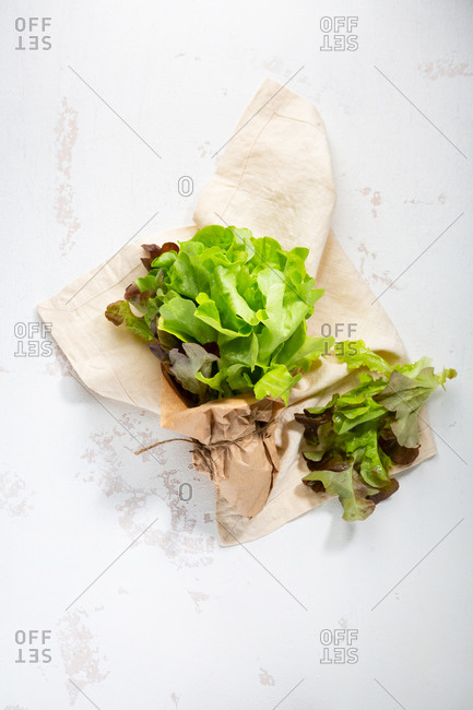 Overhead view of fresh pickled salad on linen cloth