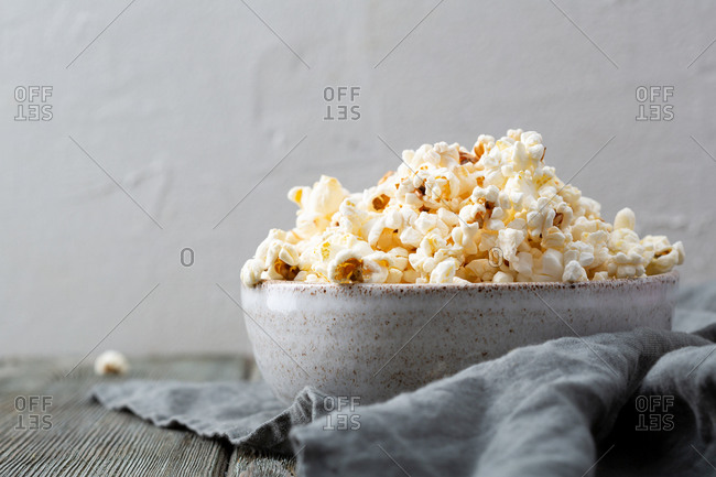 Close up of bowl with popcorn