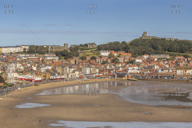September 18, 2020: View of South Bay and Scarborough, Scarborough, North Yorkshire, Yorkshire, England, United Kingdom, Europe