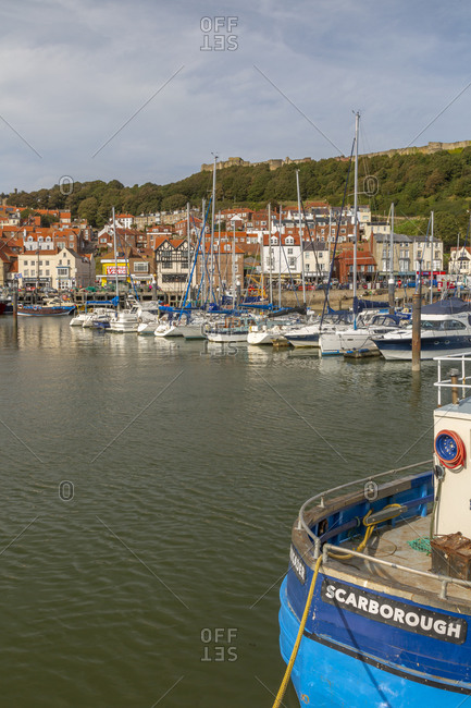 September 18, 2020: View of old harbor below Castle Hill, Scarborough, North Yorkshire, Yorkshire, England, United Kingdom, Europe