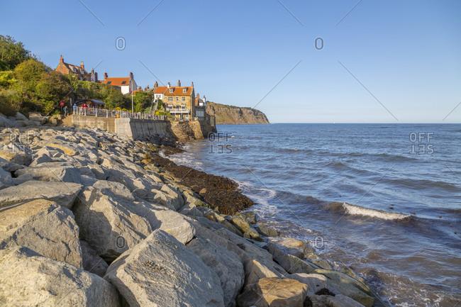 View of rocks and North Yorkshire coastline, Robin Hood's Bay, North Yorkshire, England, United Kingdom, Europe