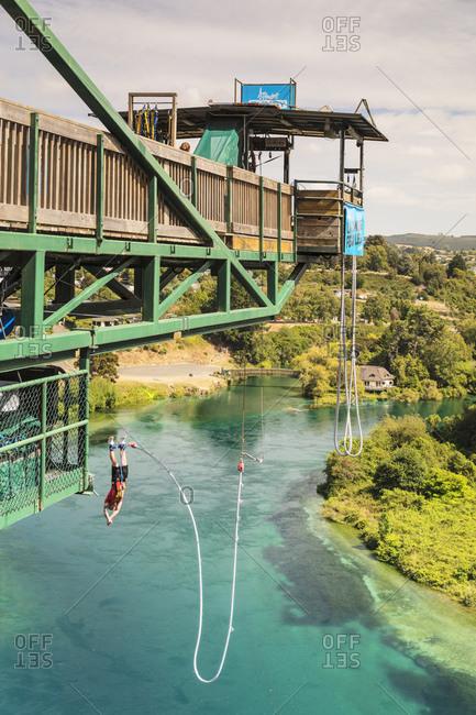 March 3, 2020: Bungee Jumping, Waikato River, Taupo, Waikato, North Island, New Zealand, Pacific