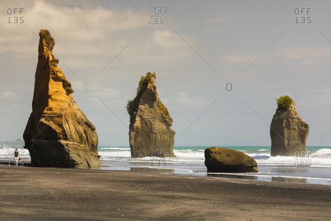 March 4, 2020: Three Sisters Beach, Tongaporutu, Taranaki, North Island, New Zealand, Pacific