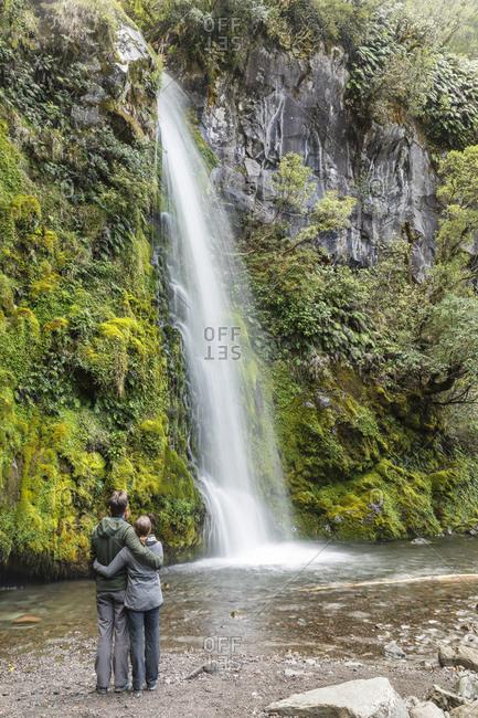 March 4, 2020: Dawson Falls Waterfall, Egmont-National Park, Taranaki, North Island, New Zealand, Pacific