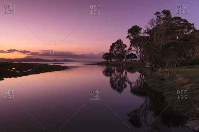 Sunset at Kuaotuno River, Coromandel Peninsula, Waikato, North Island, New Zealand, Pacific
