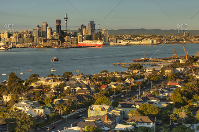 March 13, 2020: View from Devonport to the Skyline of Auckland at sunrise, North Island, New Zealand, Pacific