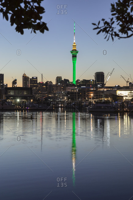 March 14, 2020: Sky Tower and Skyline at Westhaven Marina, Auckland, North Island, New Zealand, Pacific