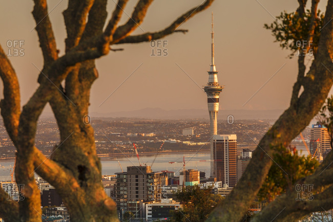 March 14, 2020: Sunrise at Mount Eden with Sky Tower, Auckland, North Island, New Zealand, Pacific