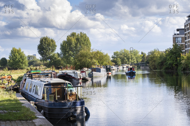 Summer shot of canal boats moored on the River Lea, East London, London, England, United Kingdom, Europe