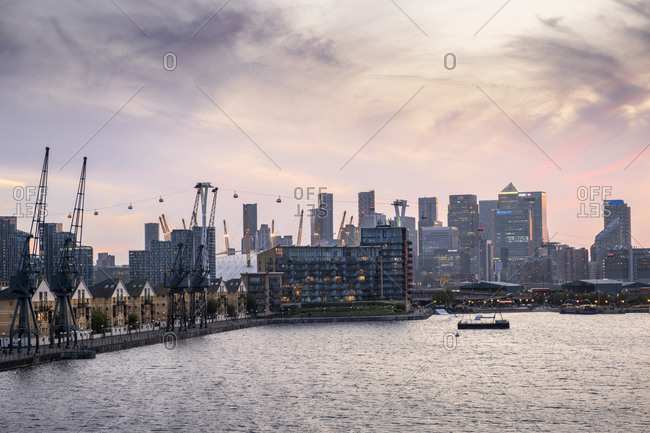 September 18, 2020: London skyline with Canary Wharf financial district, the O2 Centre Millennium Dome, Emirates Cable Car and Victoria Dock, London, England, United Kingdom, Europe