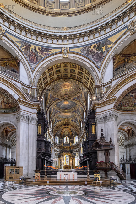 September 25, 2020: St. Paul's Cathedral, the quire (choir) and high altar showing mosaics and wood carving, London, England, United Kingdom, Europe