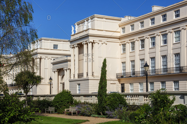 September 18, 2020: Cumberland Terrace, a row of luxurious Regency era houses by the architect John Nash next to Regents Park in Central London, England, United Kingdom, Europe