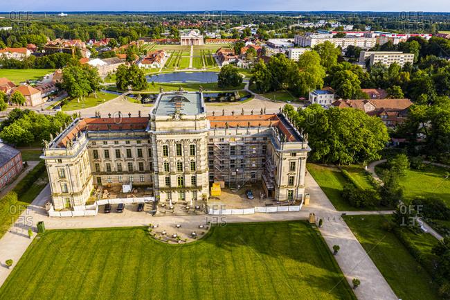 July 17, 2020: Aerial of Ludwigslust Palace, Ludwigslust, Mecklenburg-Vorpommern, Germany, Europe