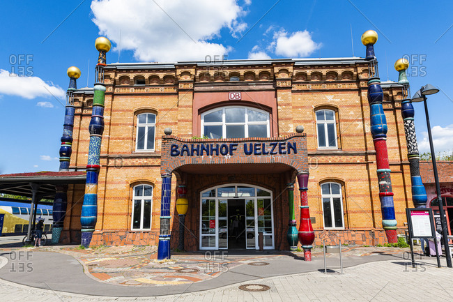 July 17, 2020: Hundertwasser railway station, Uelzen, Lower Saxony, Germany, Europe