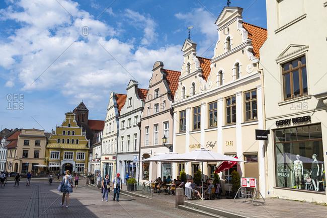 July 18, 2020: Hanseatic houses, Hanseatic city of Wismar, UNESCO World Heritage Site, Mecklenburg-Vorpommern, Germany, Europe
