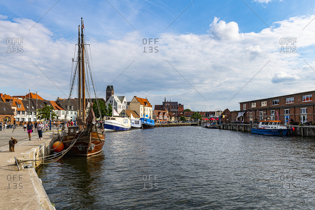 July 18, 2020: Harbor of the Hanseatic city of Wismar, UNESCO World Heritage Site, Mecklenburg-Vorpommern, Germany, Europe