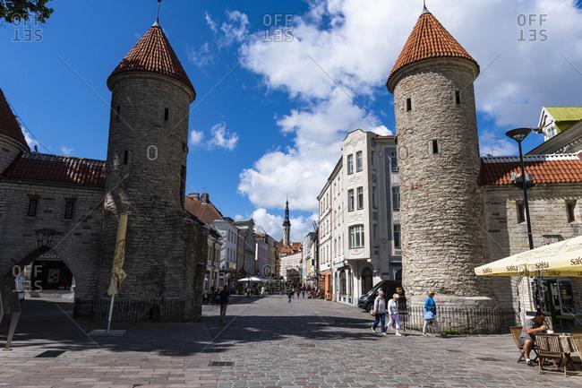 July 23, 2020: Viru Gate, Old Town of Tallinn, UNESCO World Heritage Site, Estonia, Europe