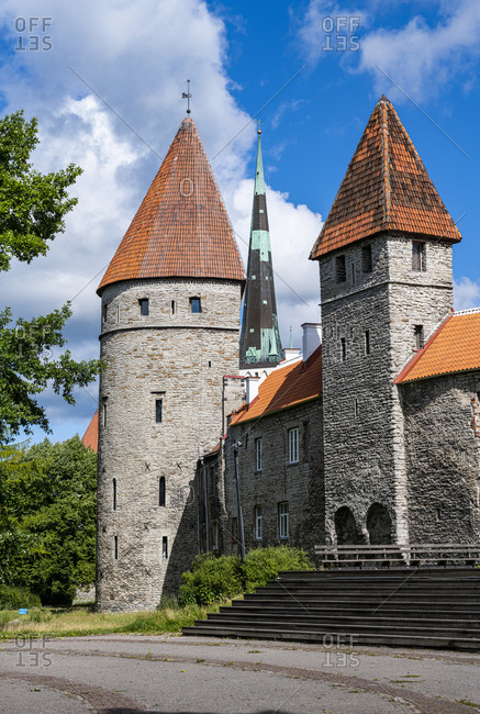 City walls of the Old Town of Tallinn, UNESCO World Heritage Site, Estonia, Europe