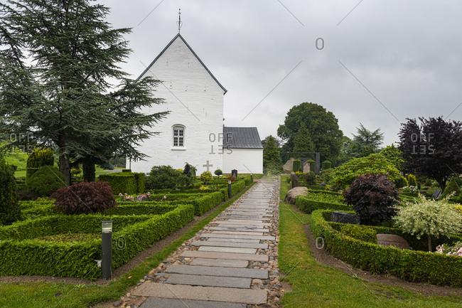 August 20, 2020: Jelling Church, UNESCO World Heritage Site, Jelling Stones, Jelling, Denmark, Scandinavia, Europe