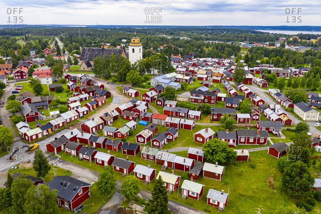 July 28, 2020: Aerial of Gammelstaden, UNESCO World Heritage Site, Gammelstad Church Town, Lulea, Sweden, Scandinavia, Europe