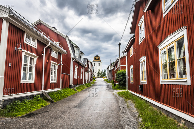 July 28, 2020: Red painted cottages, UNESCO World Heritage Site, Gammelstad Church Town, Lulea, Sweden, Scandinavia, Europe
