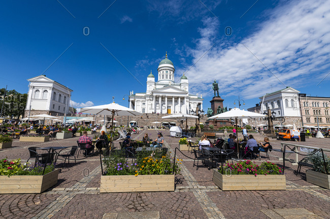 July 21, 2020: Senate Square in front of the Helsinki Cathedral (Lutheran Cathedral), Helsinki, Finland, Europe