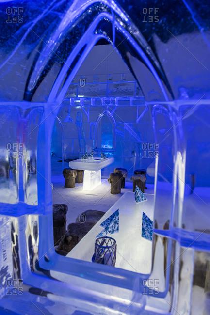 July 29, 2020: Restaurant in the Snow Castle, Kemi, Finland, Europe