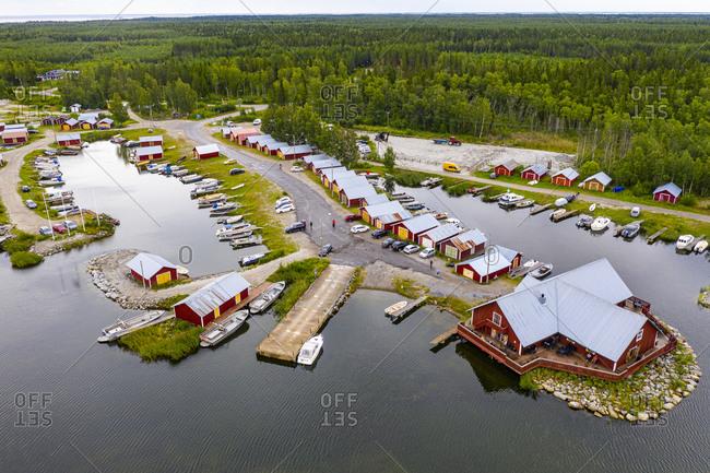 Aerial of the Kvarken Archipelago, UNESCO World Heritage Site, Finland, Europe