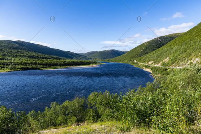 Karasjohka River bordering Norway and Finland, Lapland, Finland, Europe
