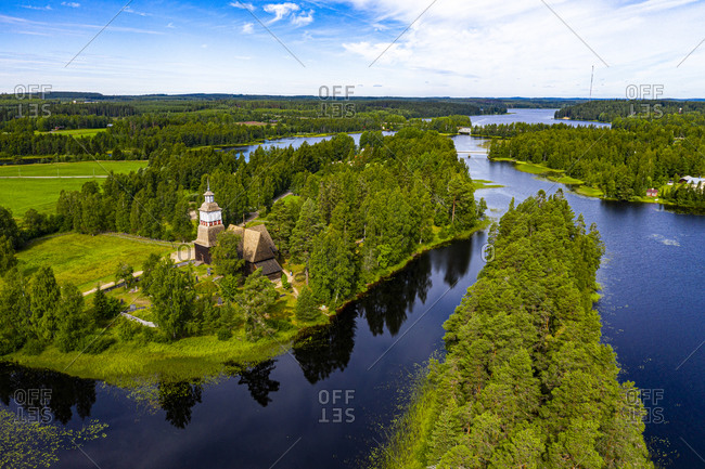 Aerial view of Petaejeveden (Petajavesi) including the Old Church, UNESCO World Heritage Site, Finland, Europe