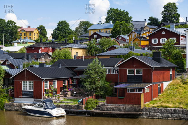 July 21, 2020: Wooden town of Poorvo, Finland, Europe