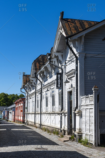 July 26, 2020: Old wooden buildings in Old Rauma, UNESCO World Heritage Site, Finland, Europe