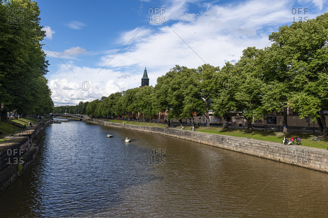 July 25, 2020: Aura Canal, Turku, Finland, Europe