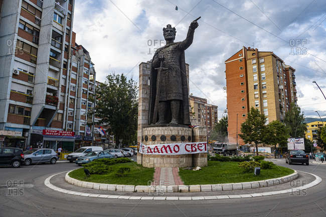 September 1, 2020: Monument to the Holy Great Martyr King Lazarus, Serbian enclave, Mitrovica, Kosovo, Europe