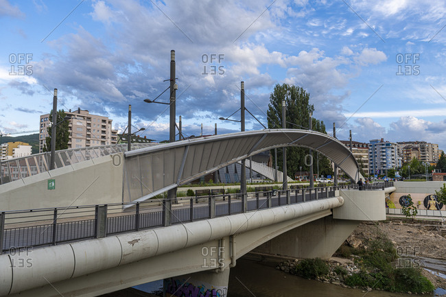 September 1, 2020: Bridge separating the Serbian enclave from the Albanian part of Mitrovica, Kosovo, Europe