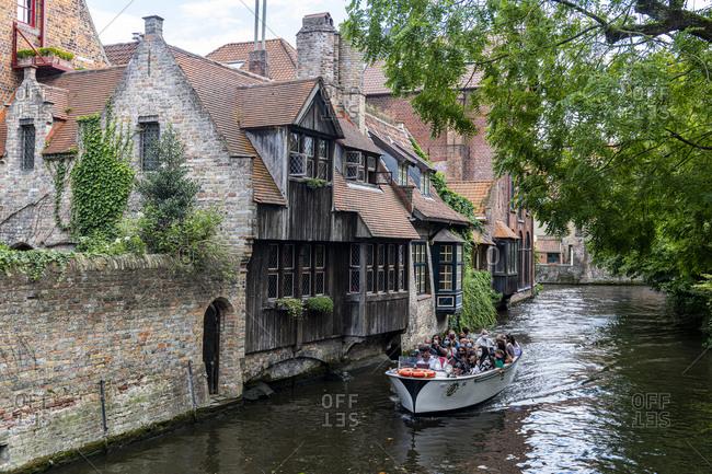 August 23, 2020: Rozenhoedkaai, Bruges, UNESCO World Heritage Site, Belgium, Europe