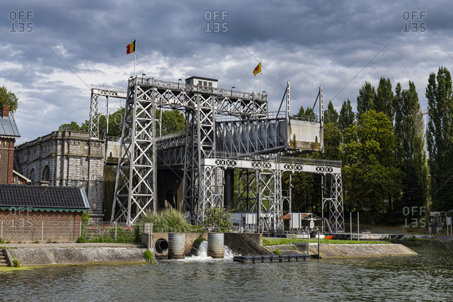Houdeng-Goegnies Lift No 1, UNESCO World Heritage Site, Boat Lifts on the Canal du Centre, La Louviere, Belgium, Europe