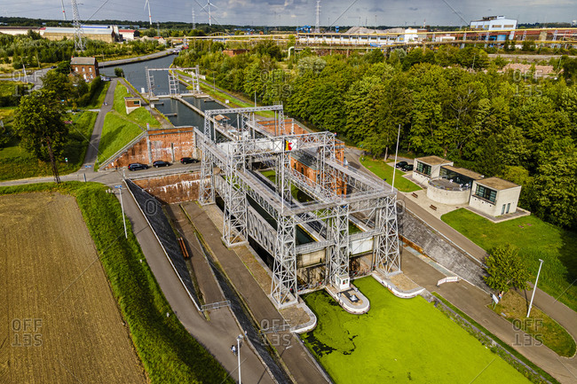 Aerial of Houdeng-Goegnies Lift No 1, UNESCO World Heritage Site, Boat Lifts on the Canal du Centre, La Louviere, Belgium, Europe
